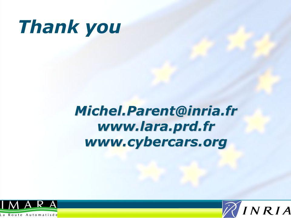 Michel.Parent@inria.fr www.lara.prd.fr www.cybercars.org Thank you