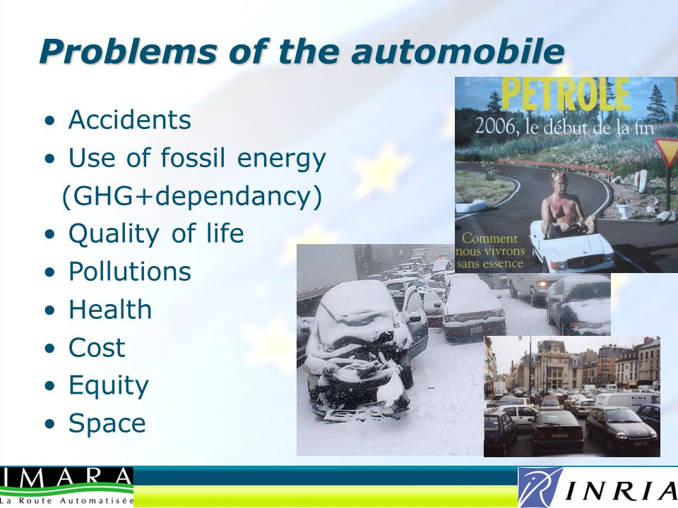 Problems of the automobile Accidents Use of fossil energy (GHG+dependancy) Quality of life Pollutions Health Cost Equity Space