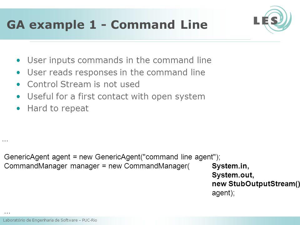 Laboratório de Engenharia de Software – PUC-Rio GA example 1 - Command Line...