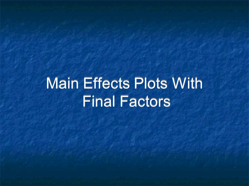 Main Effects Plots With Final Factors