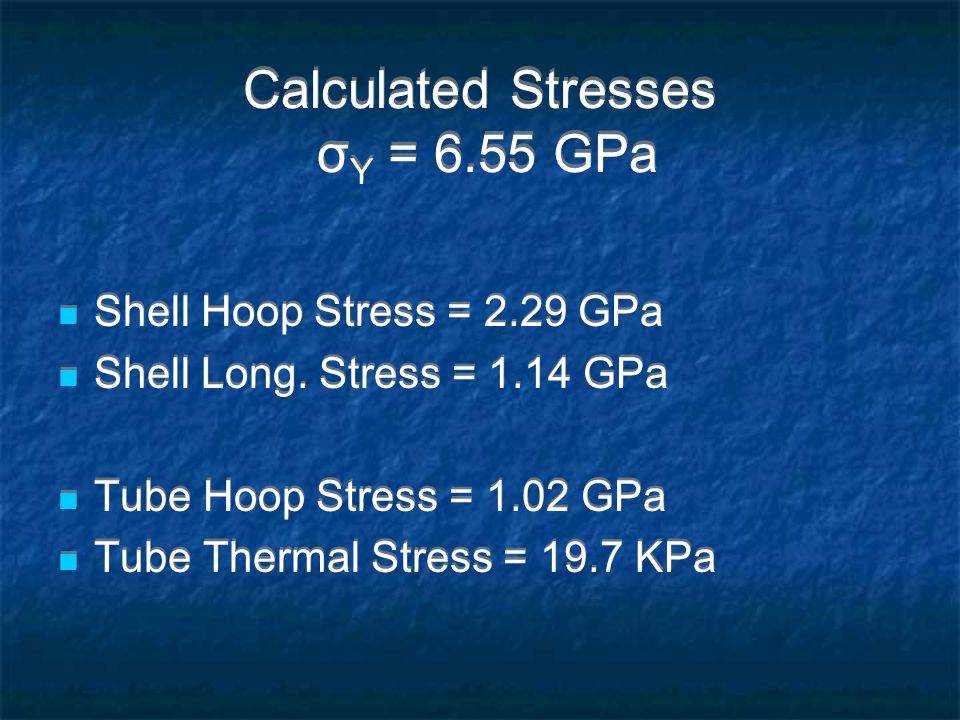 Calculated Stresses σ Y = 6.55 GPa Shell Hoop Stress = 2.29 GPa Shell Long.