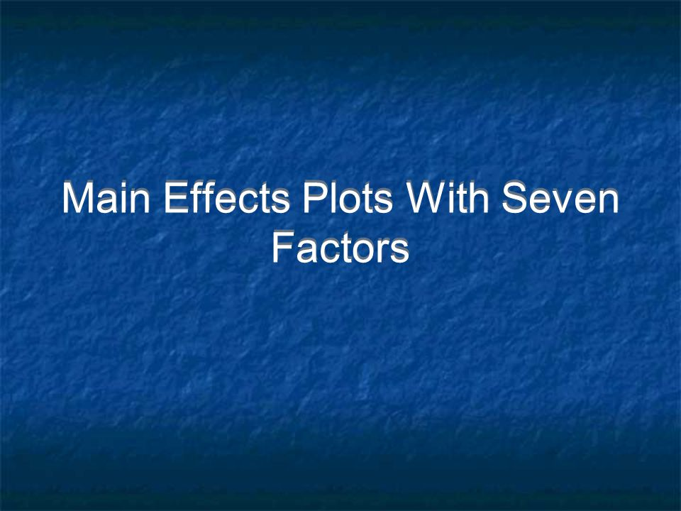 Main Effects Plots With Seven Factors