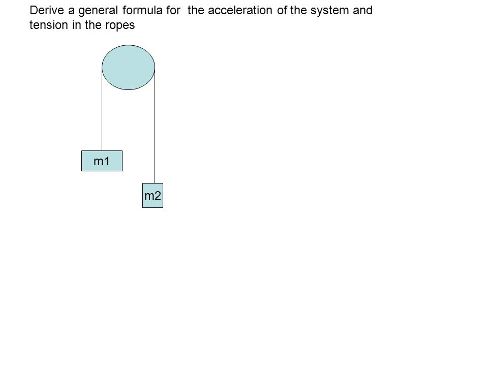 m1 m2 Derive a general formula for the acceleration of the system and tension in the ropes m1 m2 Draw FBDs and set your sign conventions: Up is positive down is negative