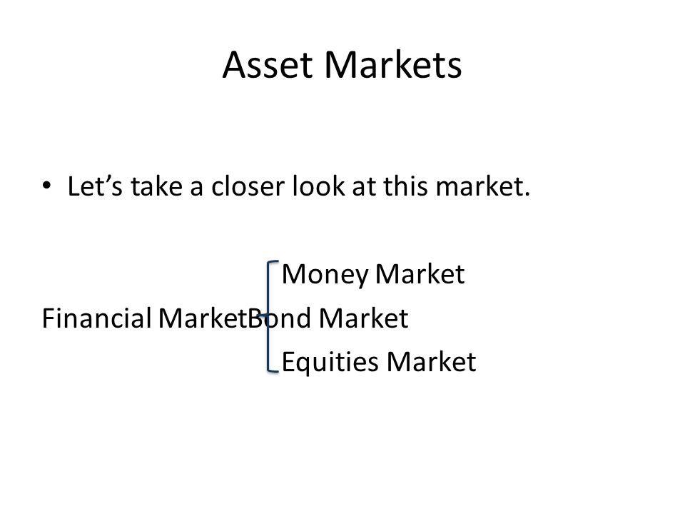 Asset Markets Let's take a closer look at this market.