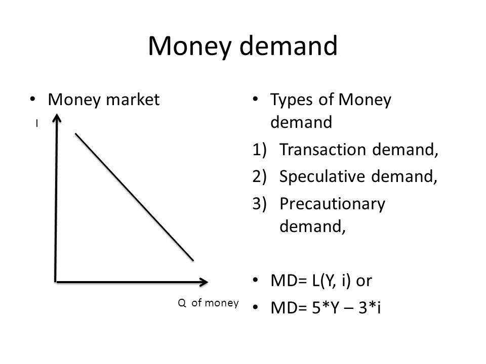 Money demand Money market Types of Money demand 1)Transaction demand, 2)Speculative demand, 3)Precautionary demand, MD= L(Y, i) or MD= 5*Y – 3*i I Q of money