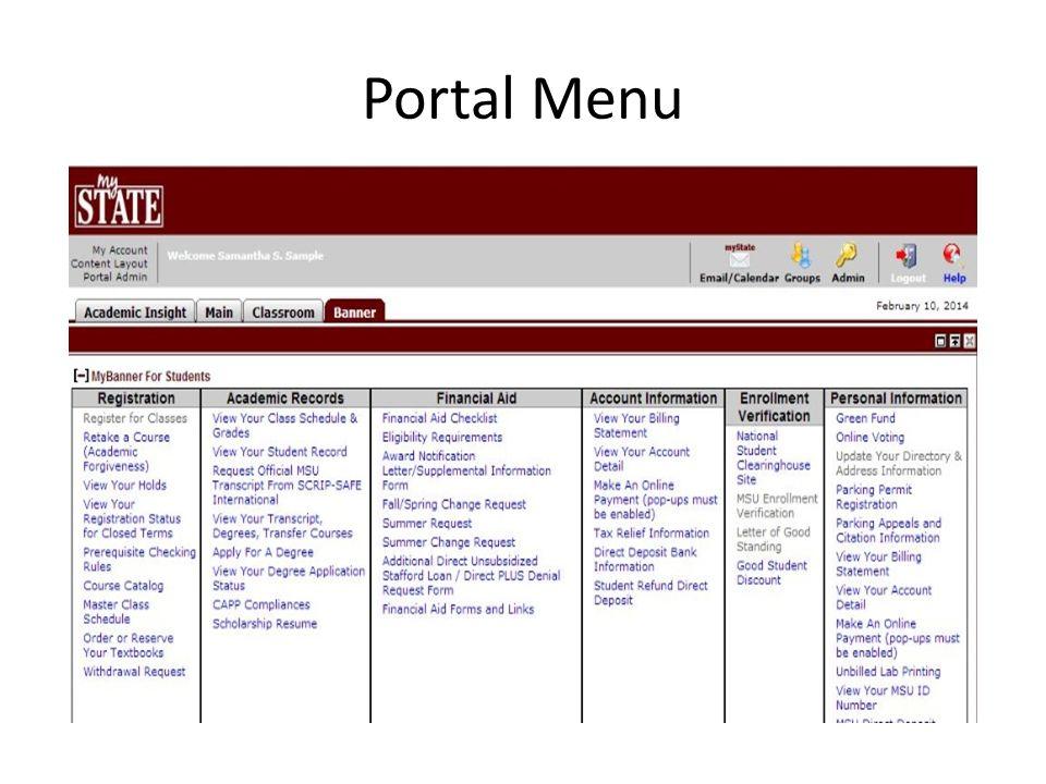 Portal Menu