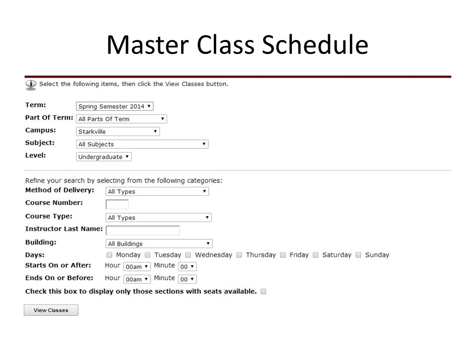 Master Class Schedule