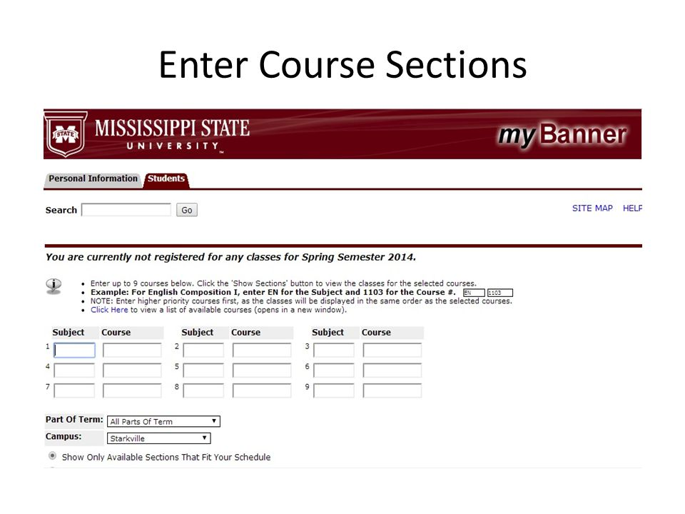 Enter Course Sections