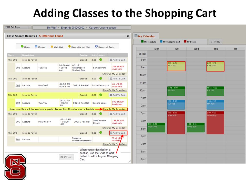 Adding Classes to the Shopping Cart