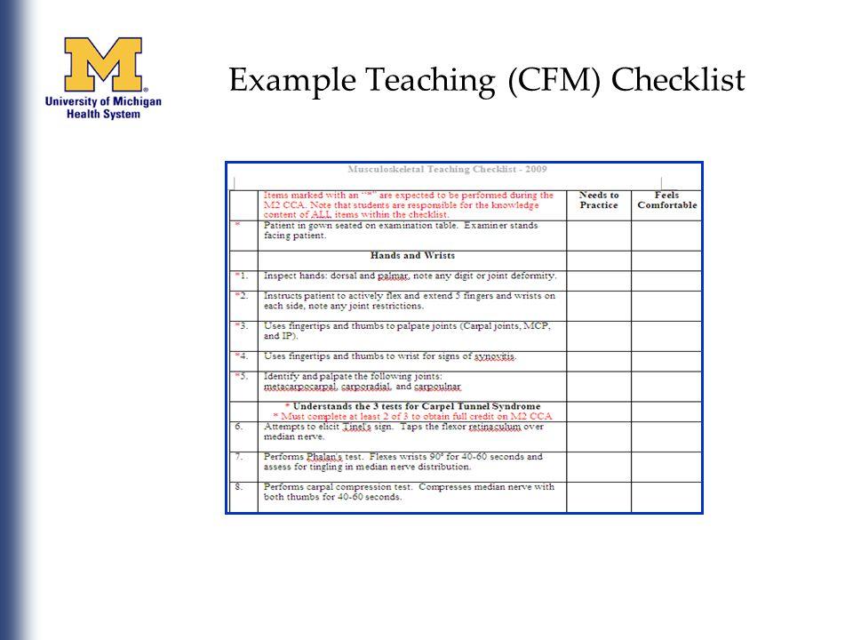 Example Teaching (CFM) Checklist