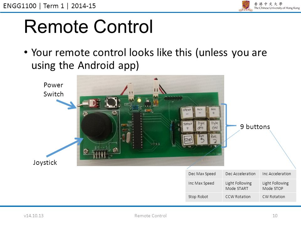 ENGG1100 | Term 1 | 2014-15 Remote Control Your remote control looks like this (unless you are using the Android app) v14.10.13Remote Control10 Joysti