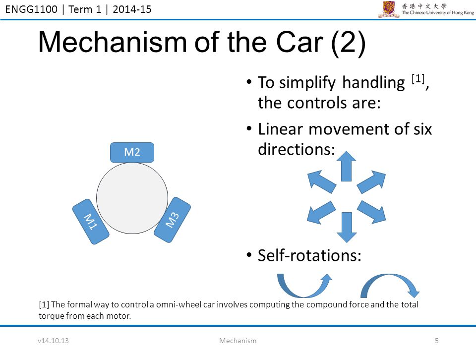 ENGG1100 | Term 1 | 2014-15 Mechanism of the Car (2) To simplify handling [1], the controls are: Linear movement of six directions: Self-rotations: v1