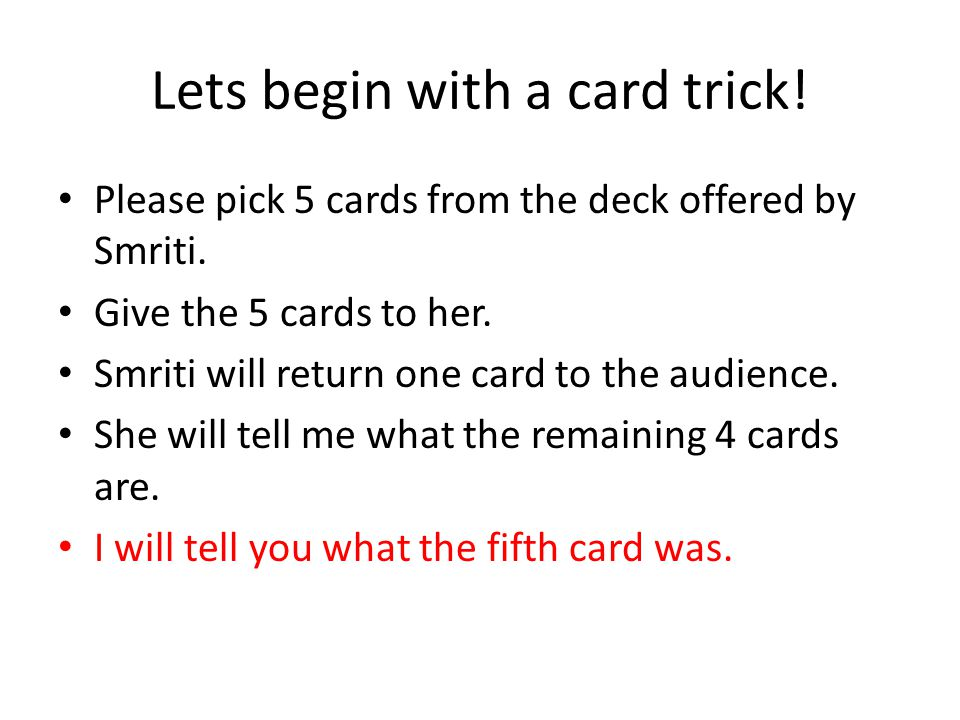 Solution to the card puzzle No matter how cards are arranged we can always pick one from each column to get all values.