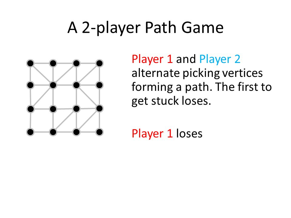 A 2-player Path Game Another run.Player 2 loses Do either player have a winning strategy.