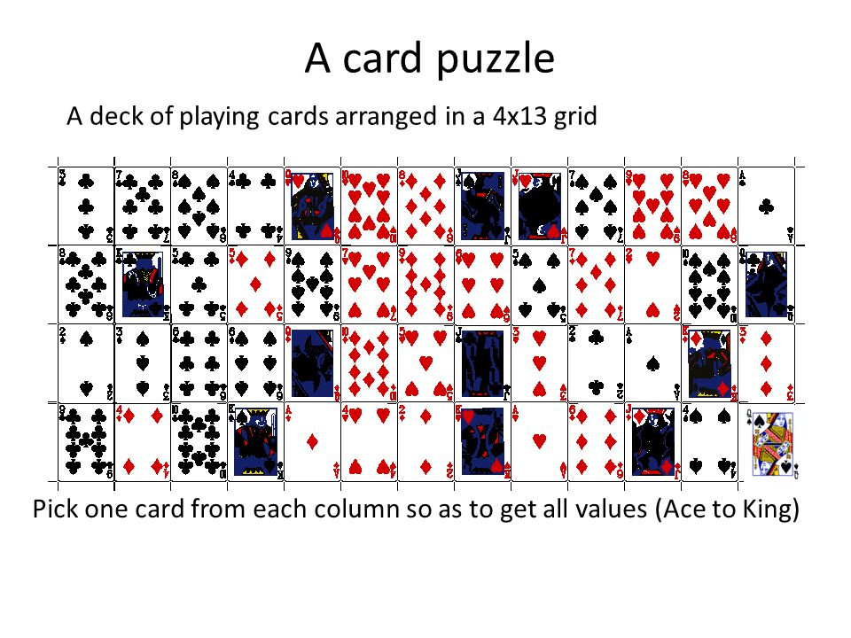 A card puzzle A deck of playing cards arranged in a 4x13 grid Pick one card from each column so as to get all values (Ace to King) Is this always possible or does it depend on the arrangement of cards?