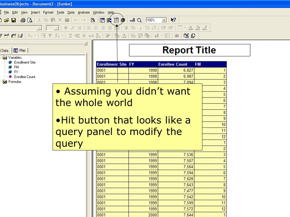 32 Query panel, But isn't opened to the table you were using To modify, open up relationship summary and go from there