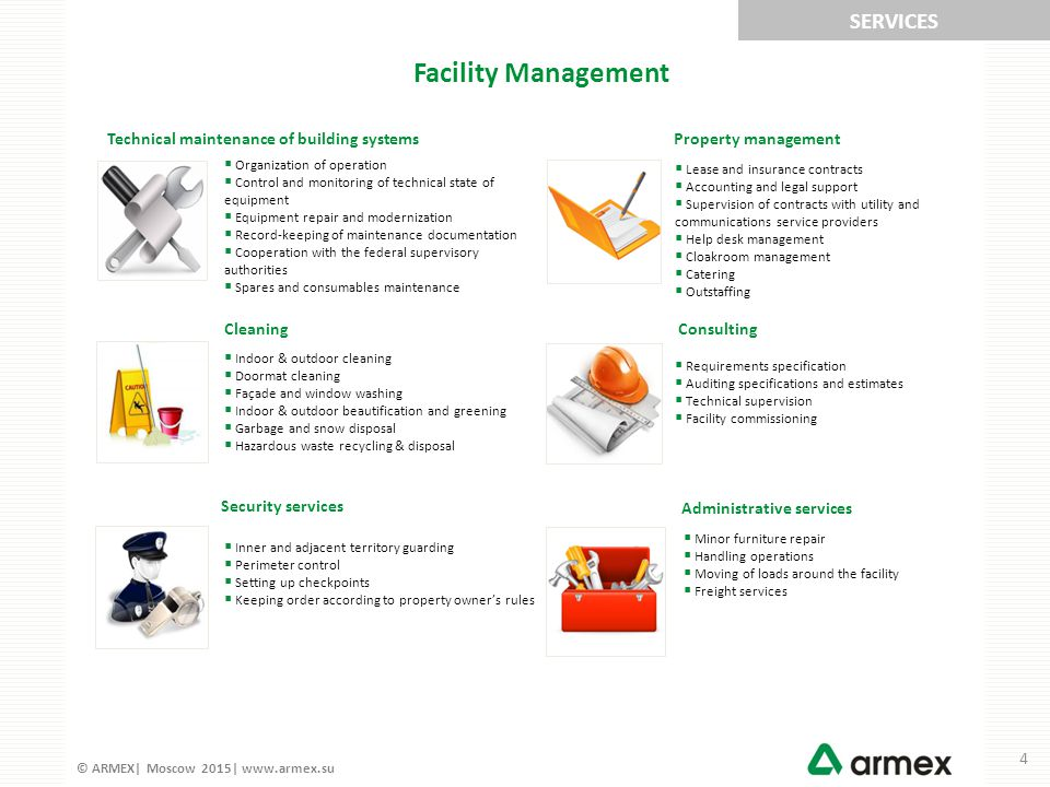© ARMEX| Moscow 2015| www.armex.su ARMEX provides preventive (scheduled) maintenance of the next building systems: HVAC Heating, ventilation and condition Water supply & sewerage Power supply & lighting Fire alarm & notification Dispatch & automation Security & communication systems Maintenance plan provides scheduled maintenance at specified time: TS-1 – monthly, TS-2 – quarterly, etc.