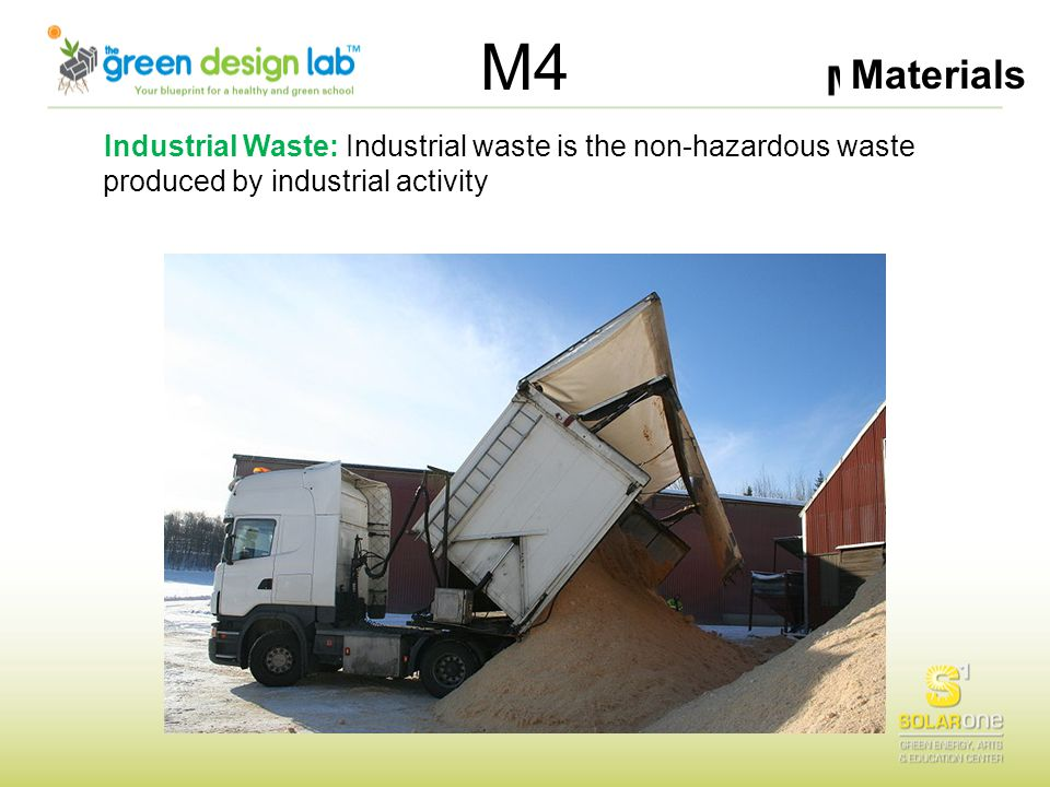 Materials M4 Industrial Waste: Industrial waste is the non-hazardous waste produced by industrial activity