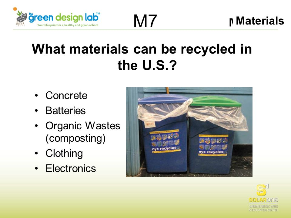 Materials M7 What materials can be recycled in the U.S.? Concrete Batteries Organic Wastes (composting) Clothing Electronics