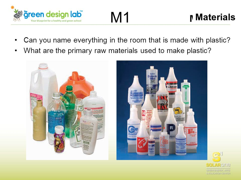 Materials M1 Can you name everything in the room that is made with plastic? What are the primary raw materials used to make plastic?