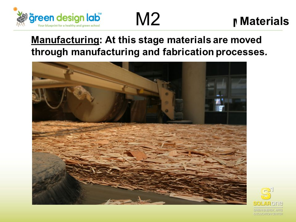 Materials M2 Manufacturing: At this stage materials are moved through manufacturing and fabrication processes.
