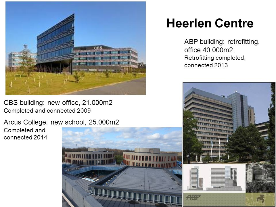 CBS building: new office, 21.000m2 Completed and connected 2009 ABP building: retrofitting, office 40.000m2 Retrofitting completed, connected 2013 Arc
