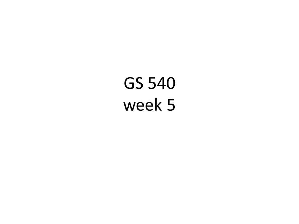 GS 540 week 5