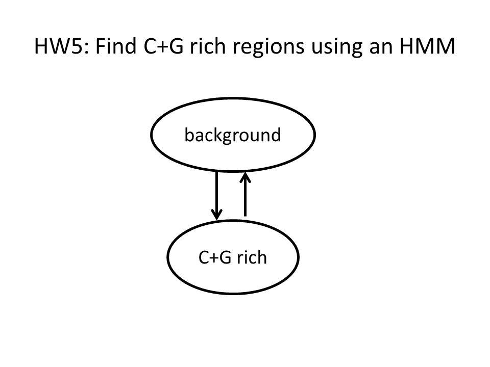 HW5: Find C+G rich regions using an HMM background C+G rich