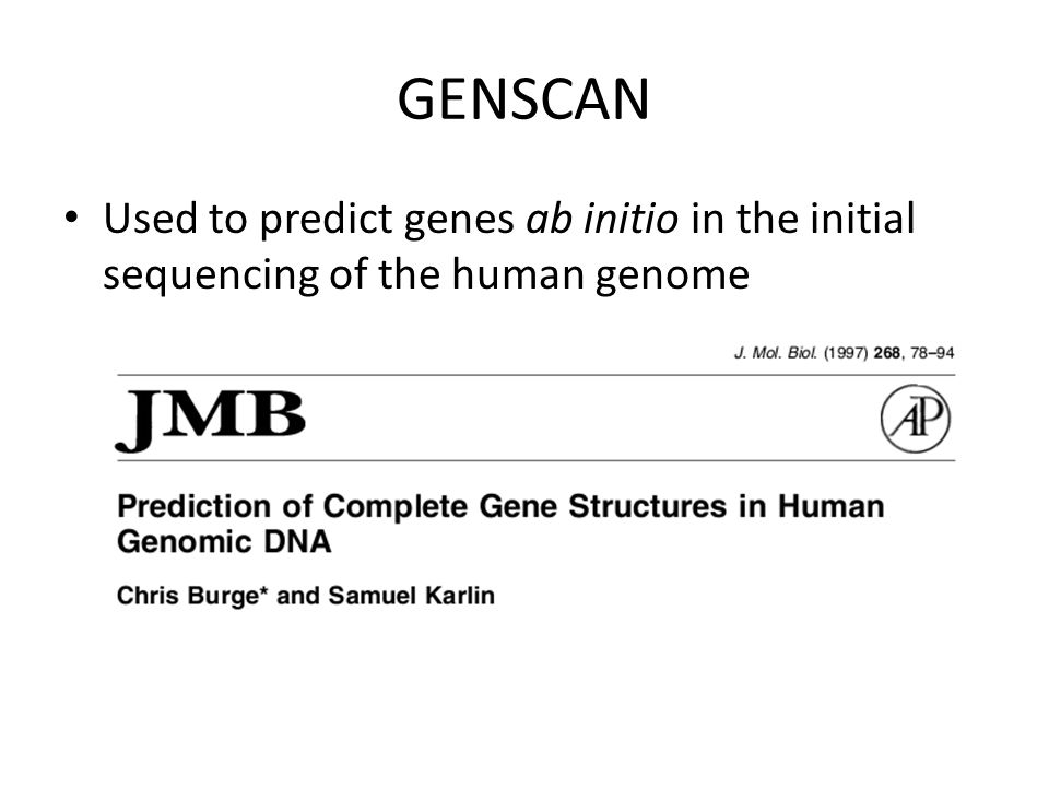 GENSCAN Used to predict genes ab initio in the initial sequencing of the human genome