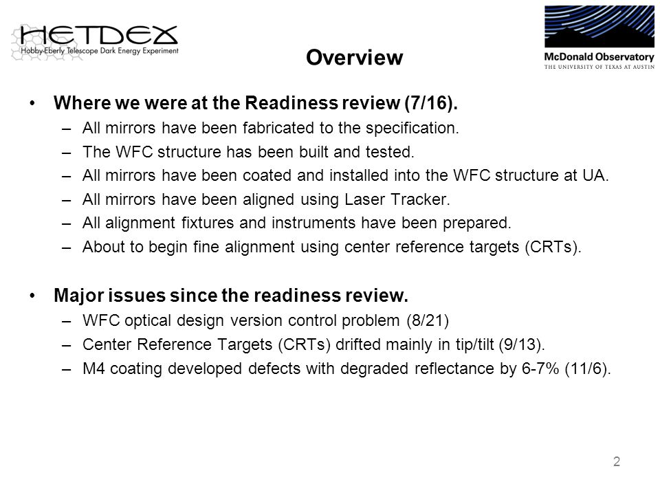 Overview Where we were at the Readiness review (7/16). –All mirrors have been fabricated to the specification. –The WFC structure has been built and t