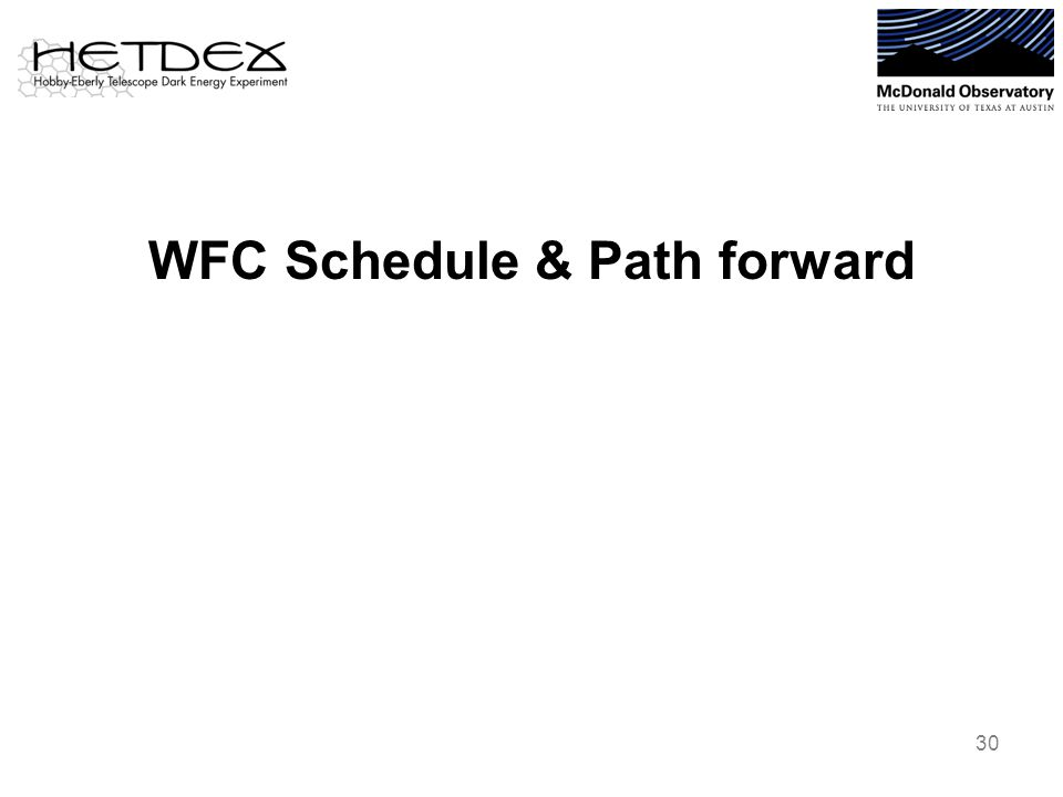 WFC Schedule & Path forward 30