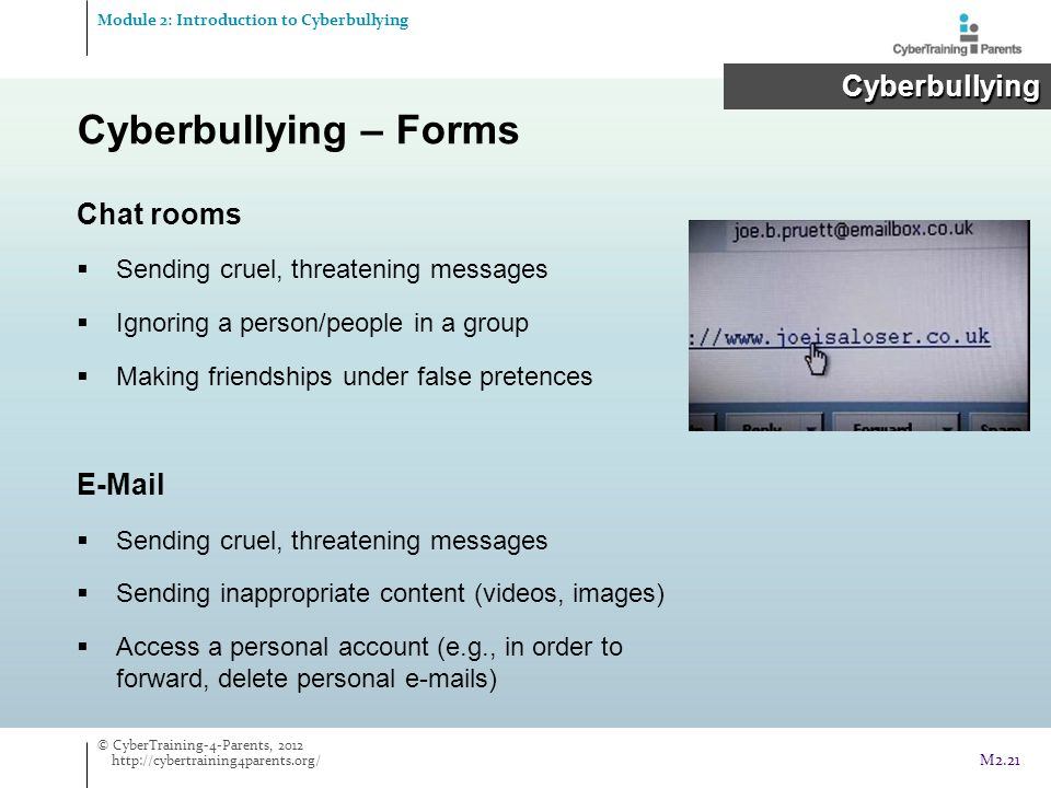 Chat rooms  Sending cruel, threatening messages  Ignoring a person/people in a group  Making friendships under false pretences E-Mail  Sending cru