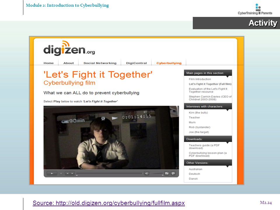 Module 2: Introduction to Cyberbullying Activity Activity Source: http://old.digizen.org/cyberbullying/fullfilm.aspx M2.24