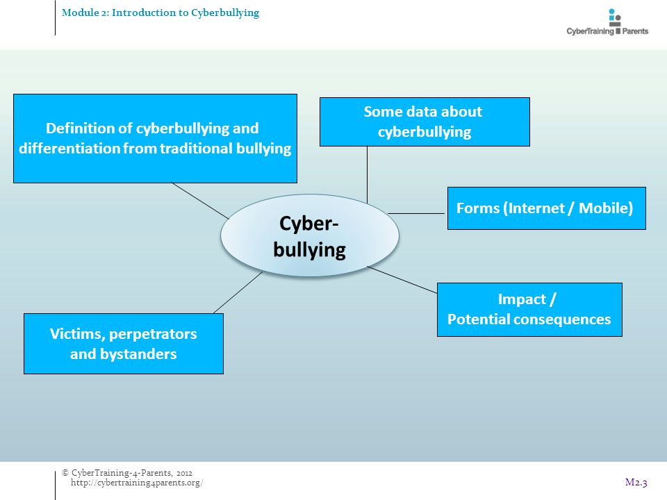 Talk in person  students talk to someone in person, as opposed to talking in cyberspace  this would help them to avoid misperceptions due to lack of intonation, something which can often occur in cyberspace Examples Preventive coping Module 2: Introduction to Cyberbullying Cyberbullying Cyberbullying © CyberTraining-4-Parents, 2012 http://cybertraining4parents.org/ M2.44