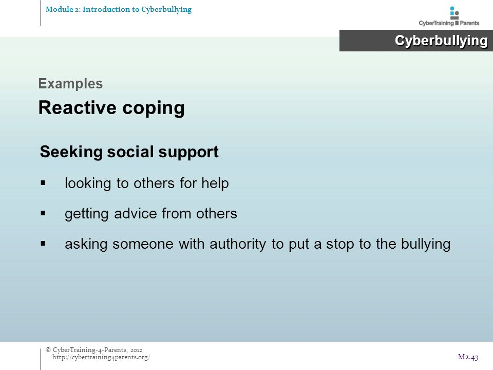 Seeking social support  looking to others for help  getting advice from others  asking someone with authority to put a stop to the bullying Example