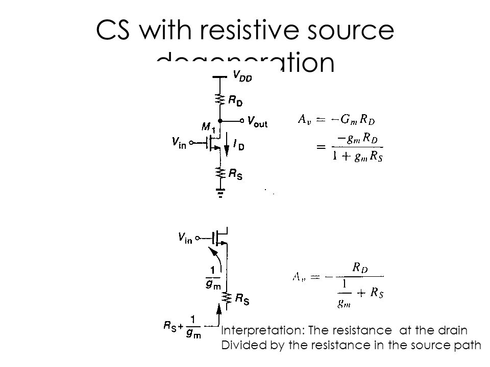 CS with resistive source degeneration Interpretation: The resistance at the drain Divided by the resistance in the source path