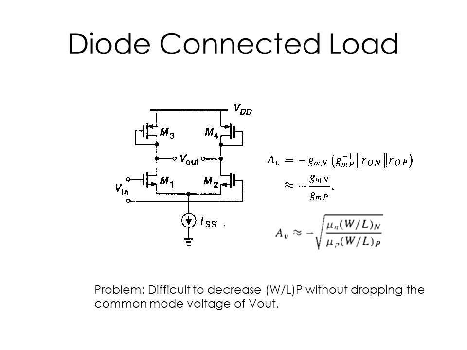 Diode Connected Load Problem: Difficult to decrease (W/L)P without dropping the common mode voltage of Vout.