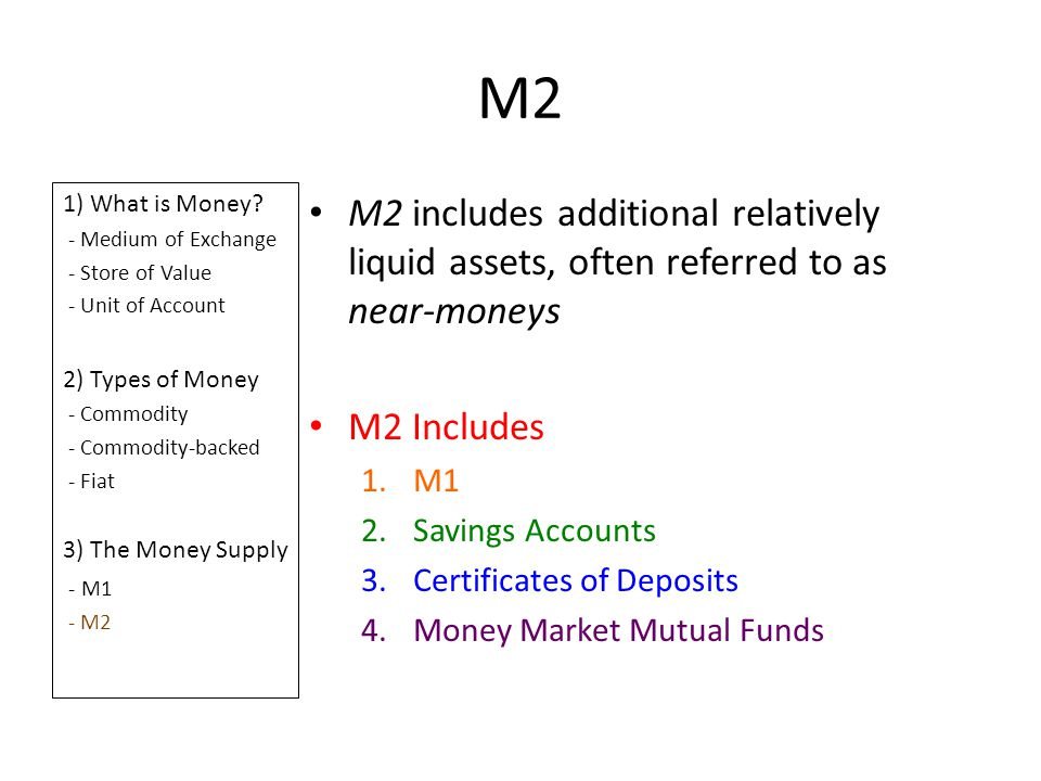 M2 1) What is Money? - Medium of Exchange - Store of Value - Unit of Account 2) Types of Money - Commodity - Commodity-backed - Fiat 3) The Money Supp