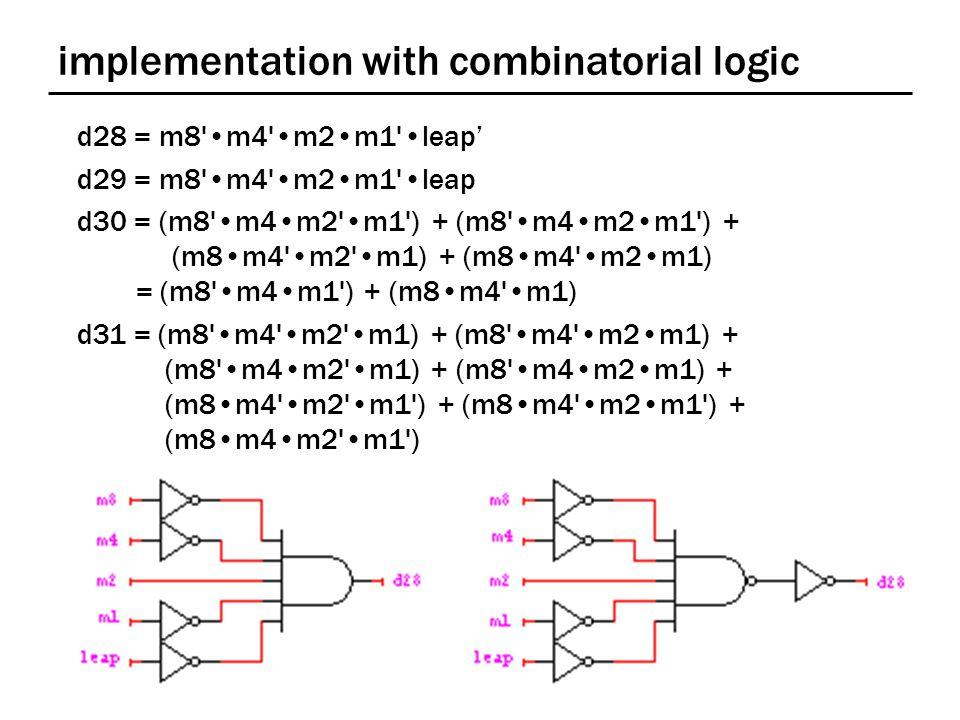 implementation with combinatorial logic d28 = m8'm4'm2m1'leap' d29 = m8'm4'm2m1'leap d30 = (m8'm4m2'm1') + (m8'm4m2m1') + (m8m4'm2'm1) + (m8m4'm2m1) =