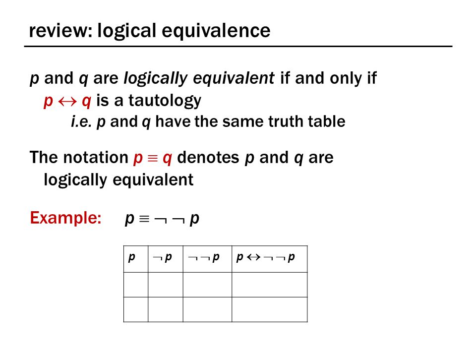 review: logical equivalence p and q are logically equivalent if and only if p  q is a tautology i.e.
