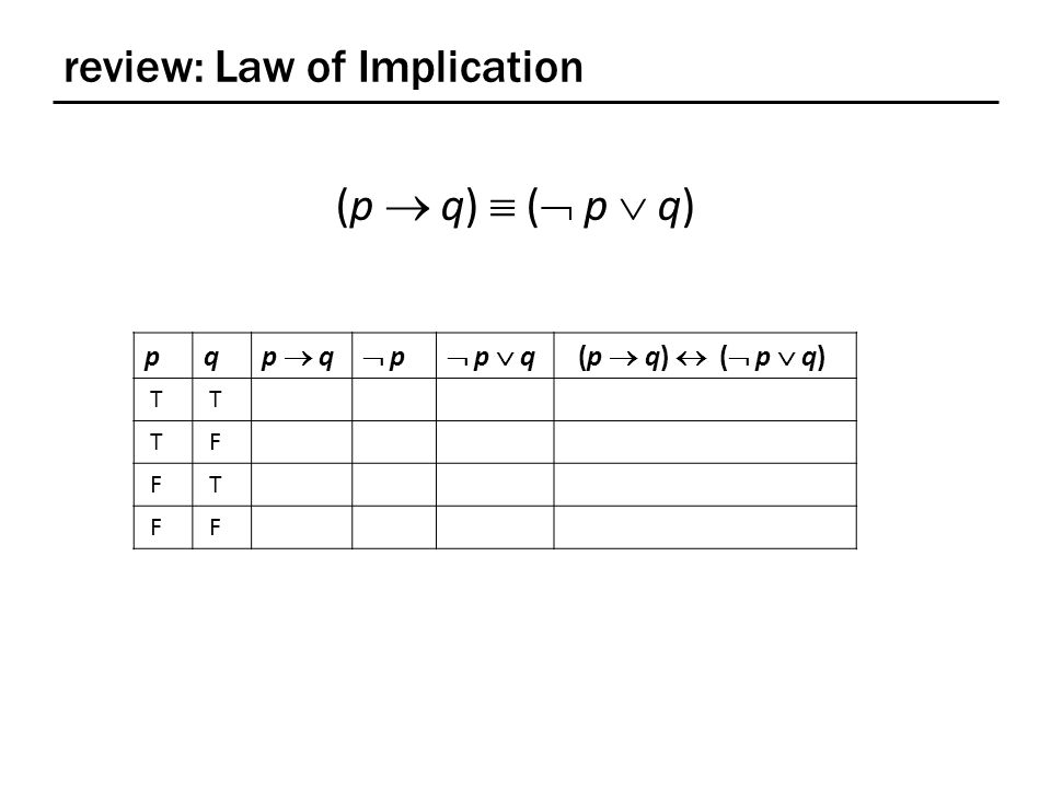 review: Law of Implication pq p  q  p p  p  q (p  q)  (  p  q) T T T F F T F F (p  q)  (  p  q)