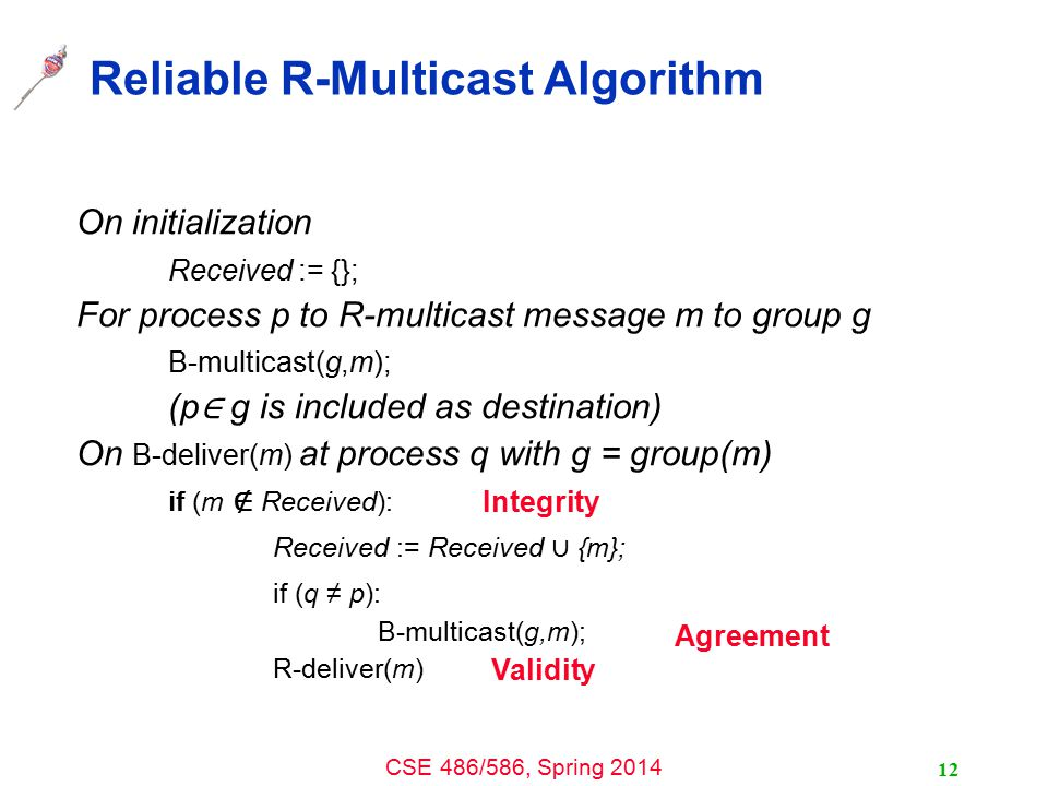 CSE 486/586, Spring 2014 Reliable R-Multicast Algorithm On initialization Received := {}; For process p to R-multicast message m to group g B-multicast(g,m); (p ∈ g is included as destination) On B-deliver(m) at process q with g = group(m) if (m ∉ Received): Received := Received ∪ {m}; if (q ≠ p): B-multicast(g,m); R-deliver(m) Integrity Validity Agreement 12