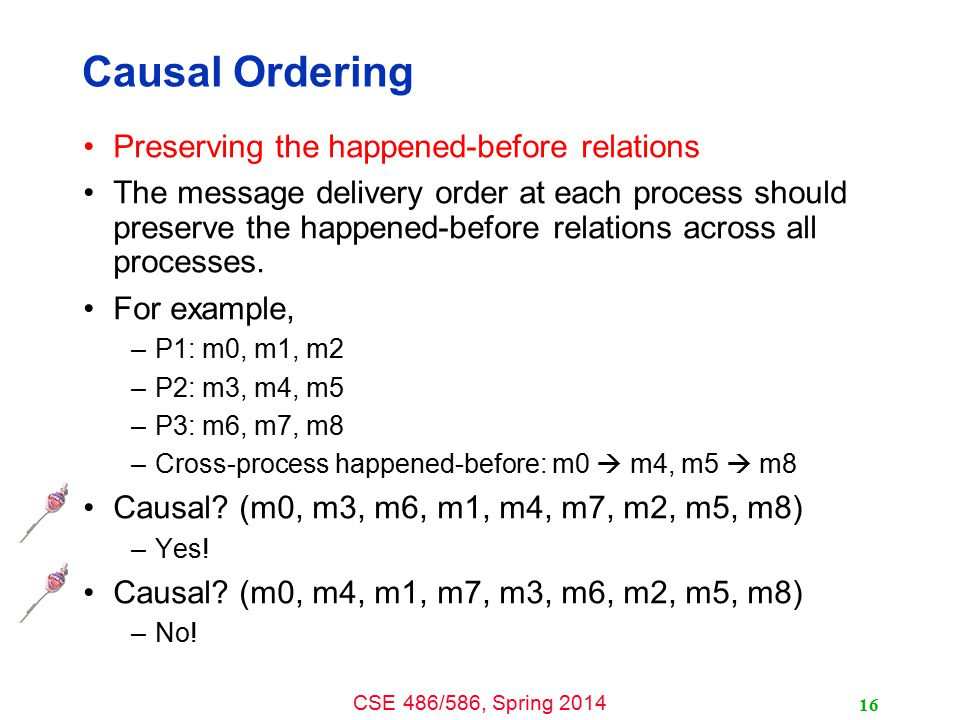 CSE 486/586, Spring 2014 Causal Ordering Preserving the happened-before relations The message delivery order at each process should preserve the happened-before relations across all processes.