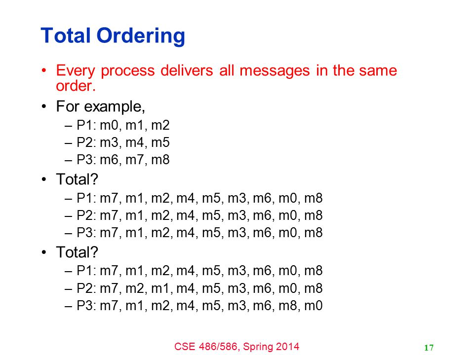 CSE 486/586, Spring 2014 Total Ordering Every process delivers all messages in the same order.