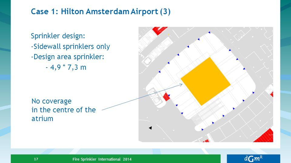 Case 1: Hilton Amsterdam Airport (3) Sprinkler design: -Sidewall sprinklers only -Design area sprinkler: - 4,9 * 7,3 m Fire Sprinkler International 20