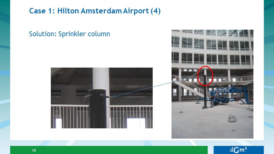 Case 1: Hilton Amsterdam Airport (4) 18 Solution: Sprinkler column