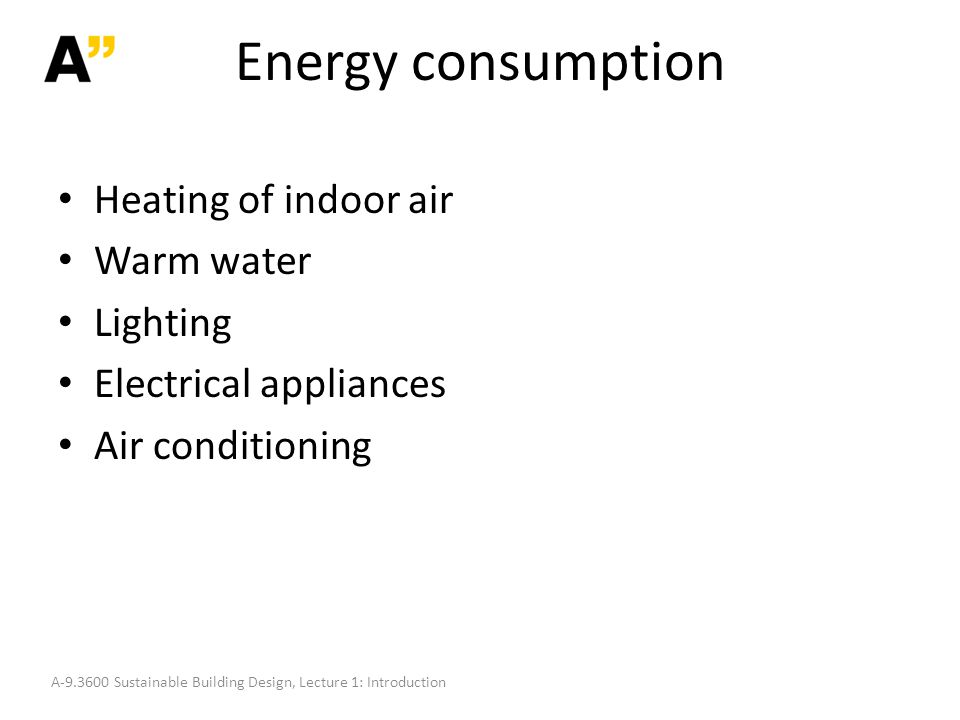 Energy consumption Heating of indoor air Warm water Lighting Electrical appliances Air conditioning A-9.3600 Sustainable Building Design, Lecture 1: Introduction