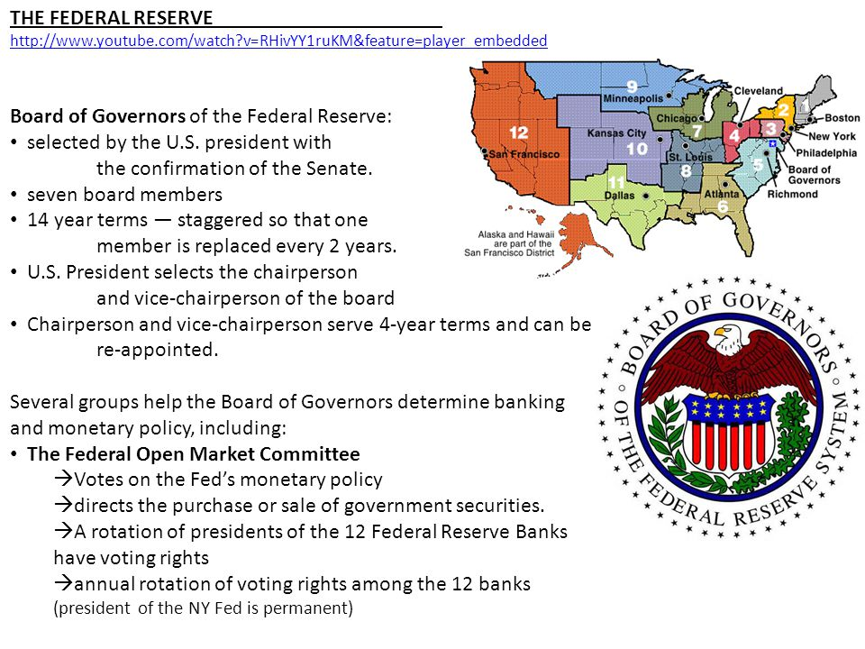 THE FEDERAL RESERVE http://www.youtube.com/watch?v=RHivYY1ruKM&feature=player_embedded Board of Governors of the Federal Reserve: selected by the U.S.