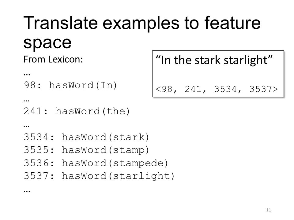 Translate examples to feature space From Lexicon: … 98: hasWord(In) … 241: hasWord(the) … 3534: hasWord(stark) 3535: hasWord(stamp) 3536: hasWord(stam