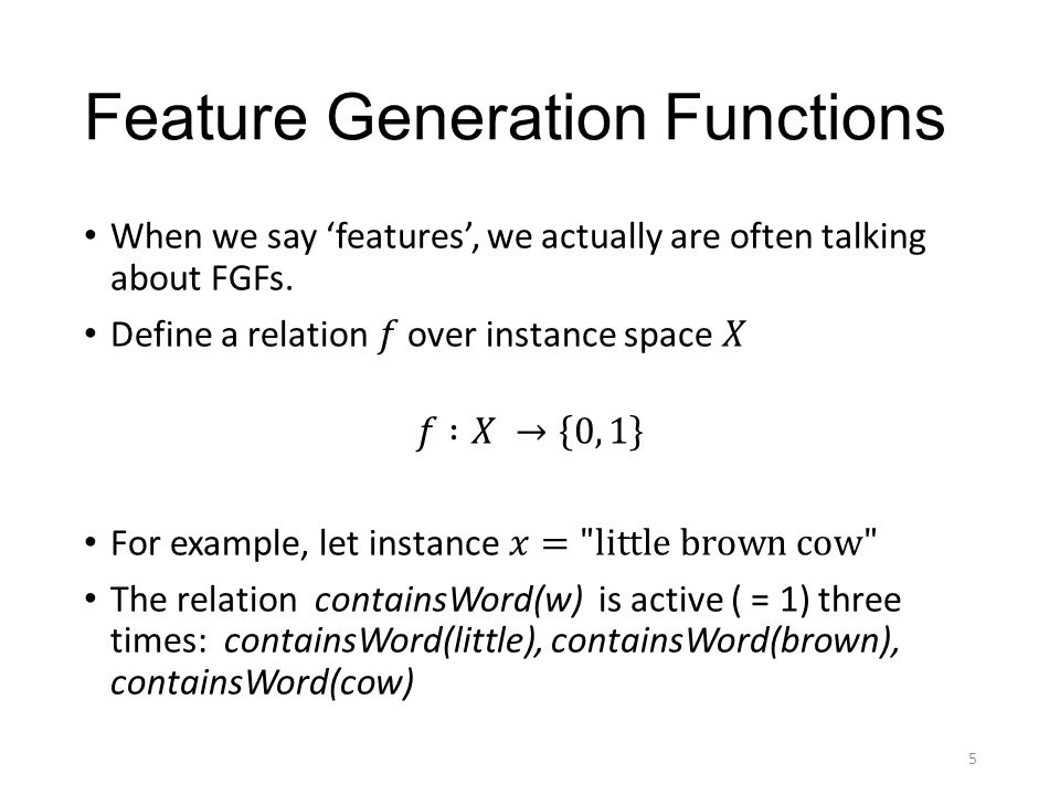 Feature Generation Functions 5